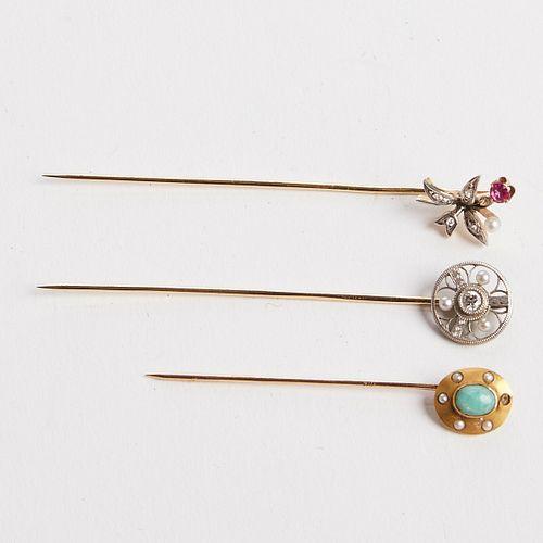 Grp: 3 Gold Straight Tie Pins