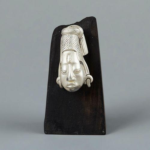 William Spratling Taxco Sterling Silver Aztec Head Sculpture