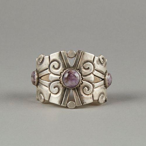 William Spratling Silver Amethyst Cuff Bracelet