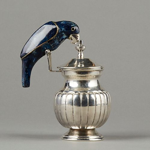Mexican Silver Plated Pitcher w/ Lapis Bird Handle