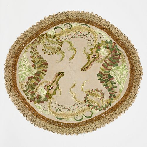 American Arts & Crafts Seahorses Textile Embroidery