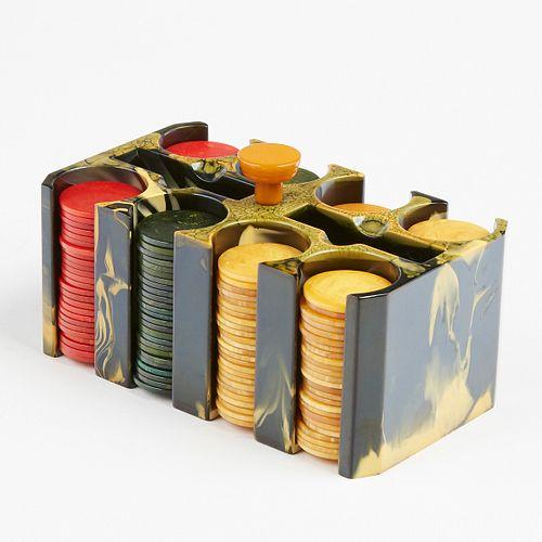 RARE Bakelite Poker Caddy & Chips Red Green & Butterscotch