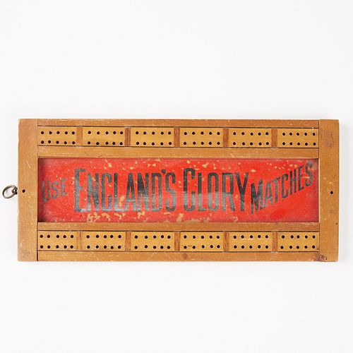 """20th c. """"Use England's Glory Matches"""" Cribbage Board Sign"""
