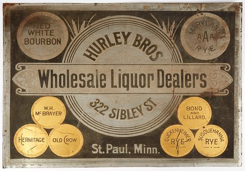Large 20th c. Hurley Bros. Wholesale Liquor Dealers Tin Sign