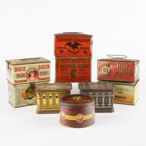 Grp: 9 20th c. Cut Plug Tobacco Tin Containers