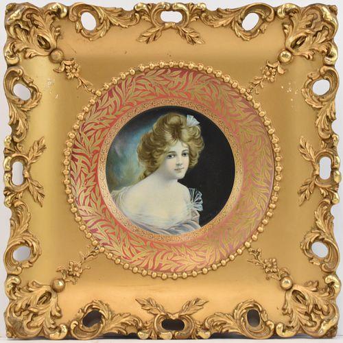 Vienna Dresden Tin Art Plate Portrait Ornate Frame