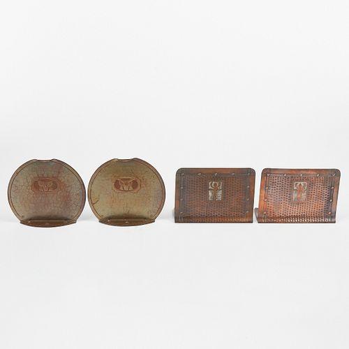 Craftsman Studios & Roycroft Arts & Crafts Hand Wrought Copper Bookends