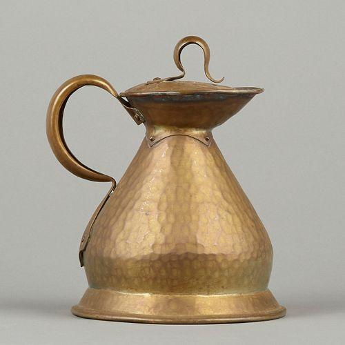 English Arts & Crafts Hand Wrought Brass Flagon