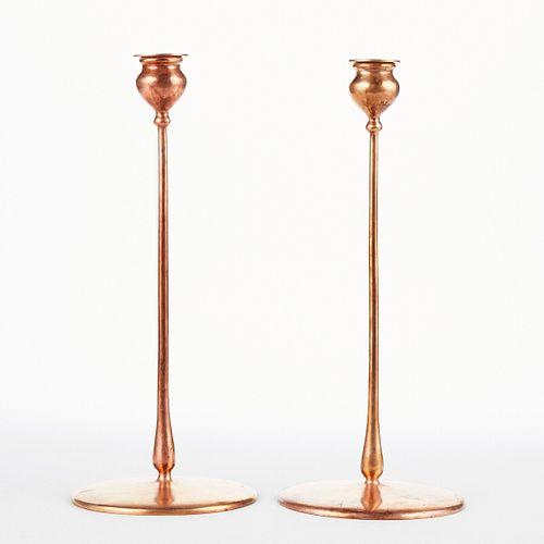 Pair of Jarvie Chicago Arts & Crafts Brass Delta Candlesticks