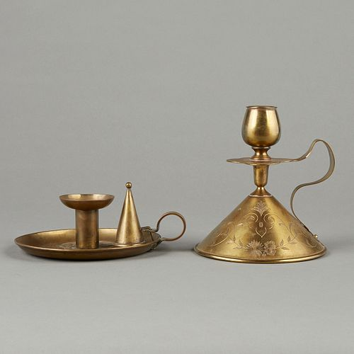 Grp: 2 Arts & Crafts Brass Candleholders - KSIA - Pairpoint