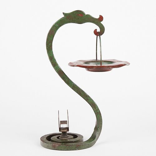 Hand Wrought Iron & Copper Dragon Ashtray Stand