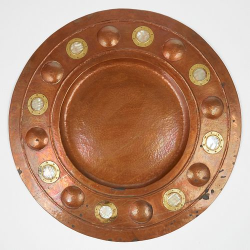 TS Co. Arts & Crafts Copper Viking Shield Plaque - Marked