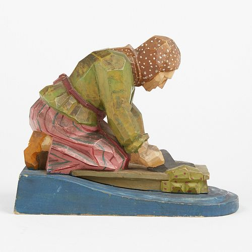 20th c. European Painted Wood Carving of Woman w/ Mangle