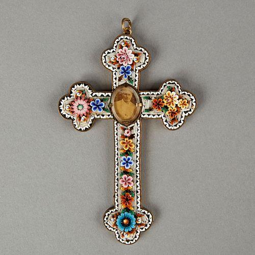 Italian Micromosaic Pope Pius X Cross Pendant