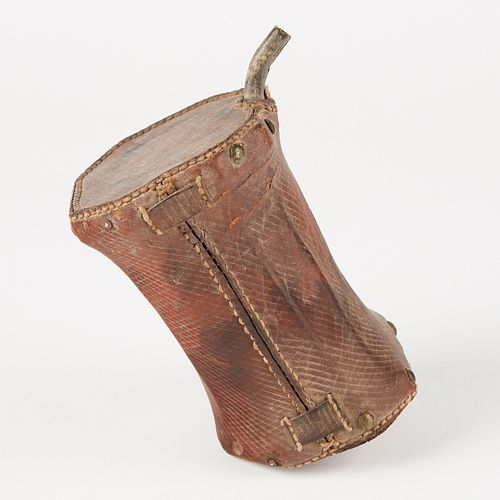 18th c. French/Canadian Leather Powder Flask