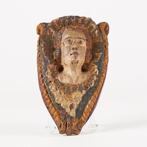 16th c. Elizabethan Polychrome Carved Wood Corbel