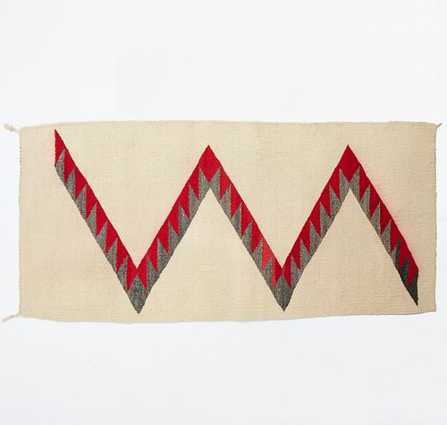 Early 20th c. SW Navajo Wool Lightning Textile Blanket Rug