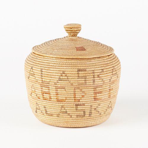 "Early 20th c. Yupik Native Alaskan (Eskimo) Basket ""Alaska ABCs"""