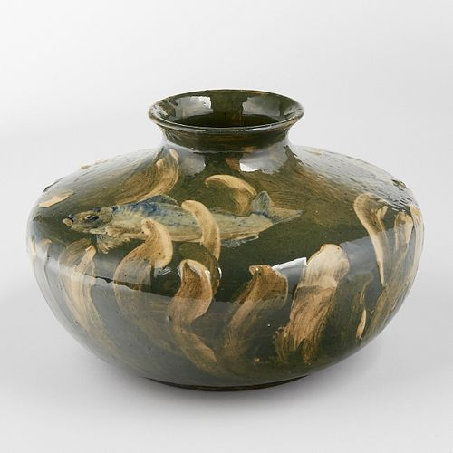 Late 19th c. Limoges Style American Art Pottery Fish Decorated Vase