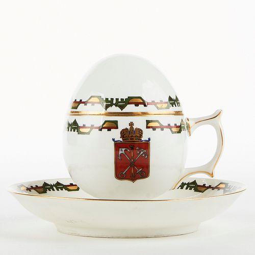 Kornilov Bros. Russian Porcelain Egg Teacup & Saucer