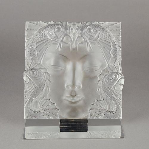 Lalique Crystal Figural Plaque Masque de Femme