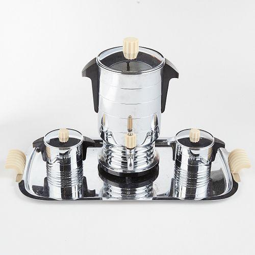 General Electric Art Deco Chrome Bakelite Coffee Serving Set