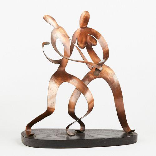 After Frank Rebajes Dancing Couple Copper Sculpture