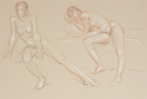 Paul Cadmus 2 Female Figures Sketch Crayon on Paper