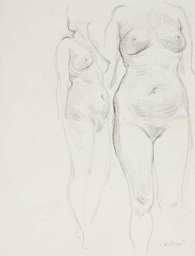 Paul Cadmus 2 Female Nude Figures Graphite on Paper