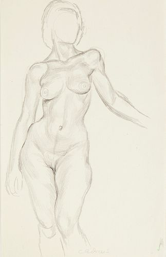 Paul Cadmus Faceless Female Nude Graphite and Ink on Paper