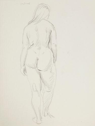 Paul Cadmus Female Nude Back Sketch on Paper