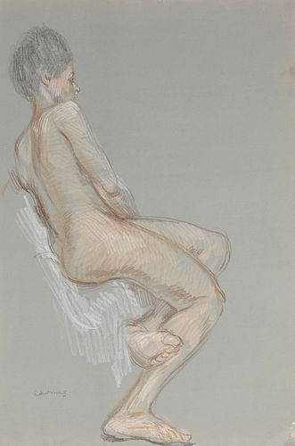 Paul Cadmus Female Nude Sketch Crayon on Paper