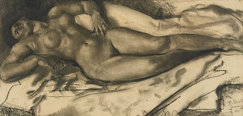 Reinhold Ewald Reclining Nude Charcoal Drawing