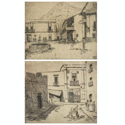 Grp: 2 Hirst Milhollen Taxco Mexico City Etchings