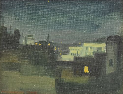 """Margarethe E. Heisser """"Roman Roofs by Night"""" Oil on Canvas on Board"""