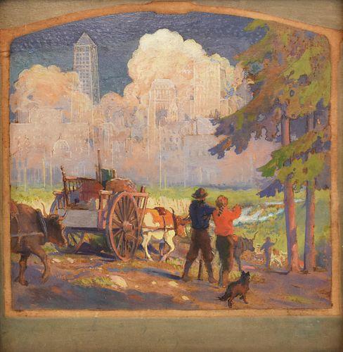 Edward Brewer Minnesota Pioneers Oil on Board