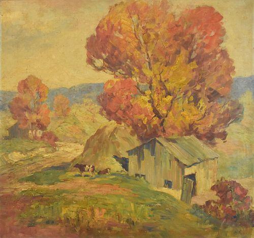 Jesse Hobby Autumnal Farm Scene Oil on Canvas