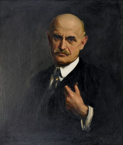 """Sidney Dickinson """"Charles P. Gruppe Portrait"""" Oil on Canvas"""