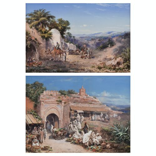 Grp: 2 Paul Pascal Orientalist Gouache Paintings