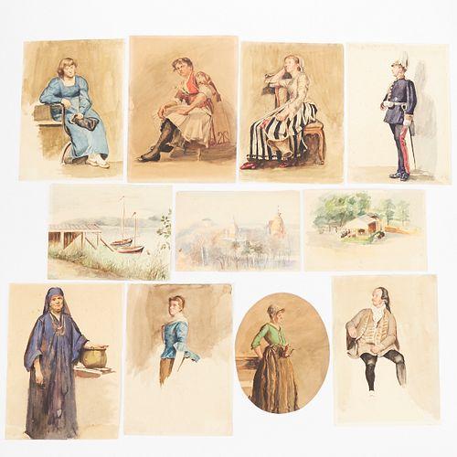 Grp: 11 18th c. German Watercolors - Signed