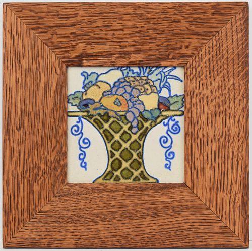 Flint Faience Art Pottery Tile in Dard Hunter Oak Frame