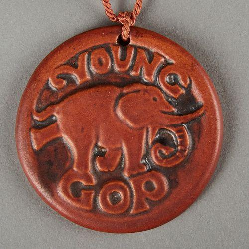 UND North Dakota Pottery Republican Elephant Pendant 1940