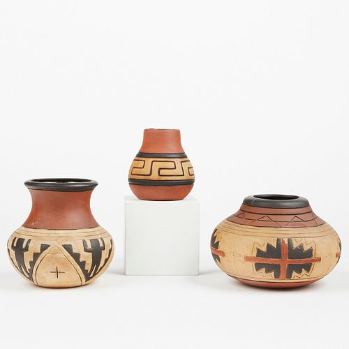 Grp: 3 Weller Pottery Arts & Crafts Souevo Pots