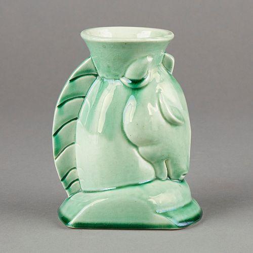 Deco Moderne American Art Pottery Horse Head Vase - Signed