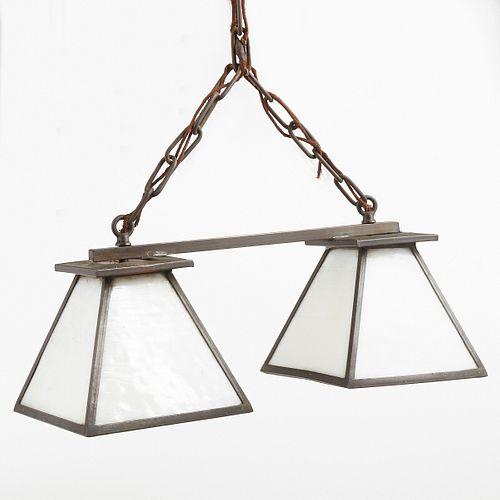 Bentley & Hausler Prairie School Metal Glass Hanging Light Fixture