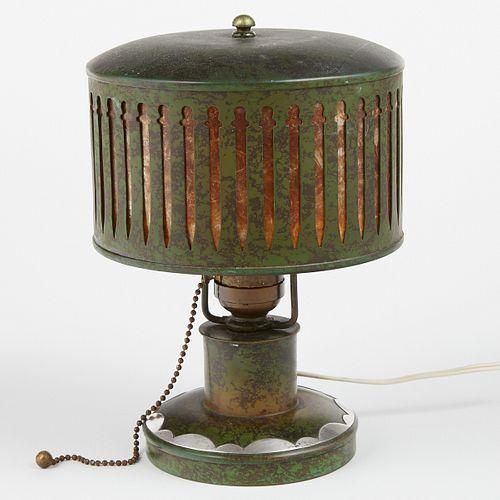 Heintz Art Metal Shop Sterling Bronze & Mica Table Lamp