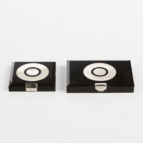Elzac French Art Deco Bakelite Sterling Compact & Cig Case