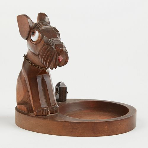 Warner French Deco Carved Wood Dog Ring Tray