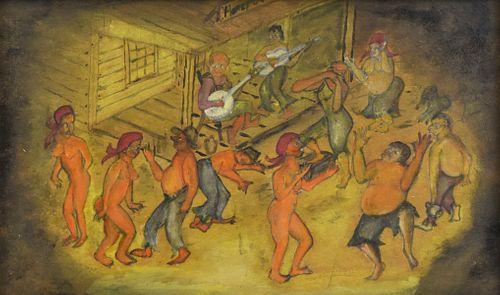 Southern Outsider Folk Art Bayou Dancers Painting on Board