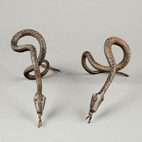 Pr 20th c. American Folk Art Hand Wrought Iron Snakes